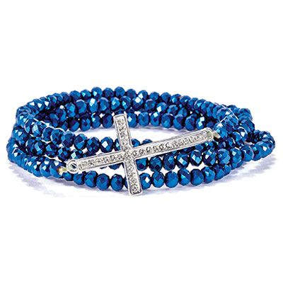 Blue Cross Stretch Wrap Bracelet bracelet, jewelry, stretch bracelet, wrap bracelet, blue bracelet, cross bracelet, 132126D