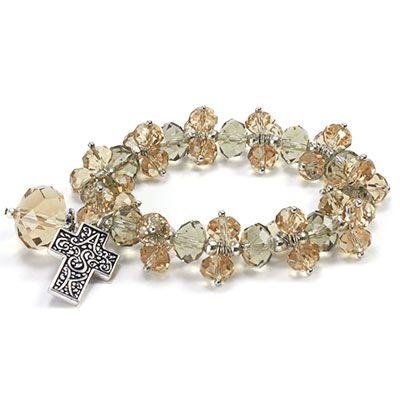 Topaz A.S.K. Stretch Bracelet bracelet, jewelry, stretch bracelet, ASK bracelet, topez bracelet, cross bracelet, 12298B