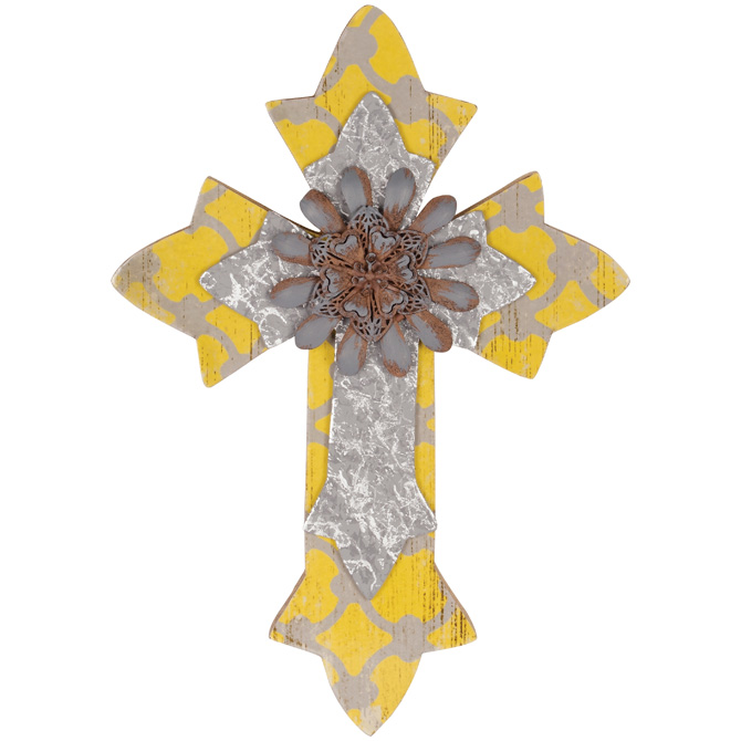 "12"" YELLOW URBAN WALL CROSS wall cross, home d?cor, cross, no corpus, new, new home gift, wedding gift, sacramental gift,13384"