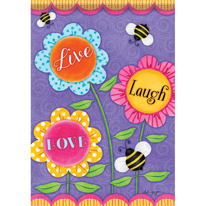 Live, Laugh, Love Flowers Garden Flag garden flag, house flag, occasion flag, outdoor flag, landscape, decorative flag, yard flag, new house gift, holiday gift, flowers,45950