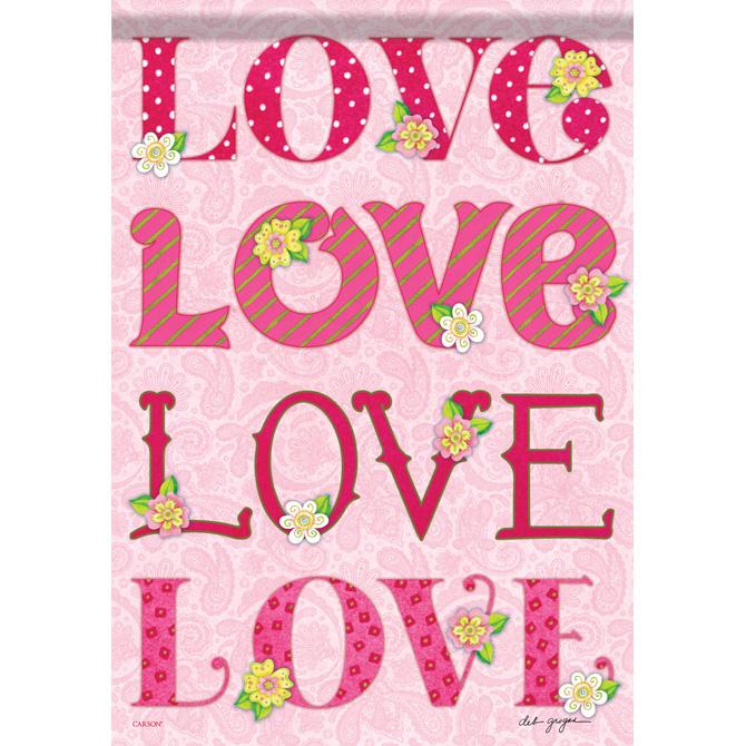 Love Love Love Garden Flag garden flag, house flag, occasion flag, outdoor flag, landscape, decorative flag, yard flag, new house gift, holiday gift, love, valentines day, 45944