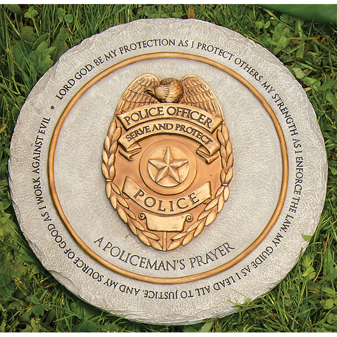 Garden Prayer Stepping Stone, Policeman garden stone, stepping stone, concrete stone, yard d?cor, memorial stone, loved one,policeman, prayer, 11258