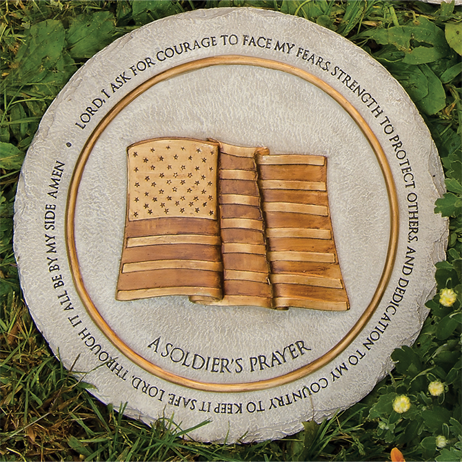Garden Prayer Stepping Stone, Soldier%27s garden stone, stepping stone, concrete stone, yard d?cor, memorial stone, loved one, soldier, military, army, navy, air force, marines, 11257