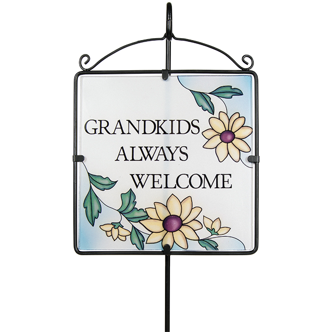 Grandkids Welcome Glass Garden Stake garden, yard, d?cor, garden stake, grandkids, grandchildren, 63632