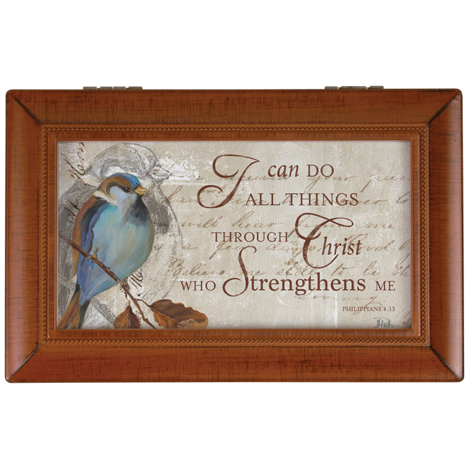 """I Can Do All Things"" Music Box music box, gift box, jewelry box, keepsake box, inspirational music box, sacramental gift, special occasion gift, 17494"