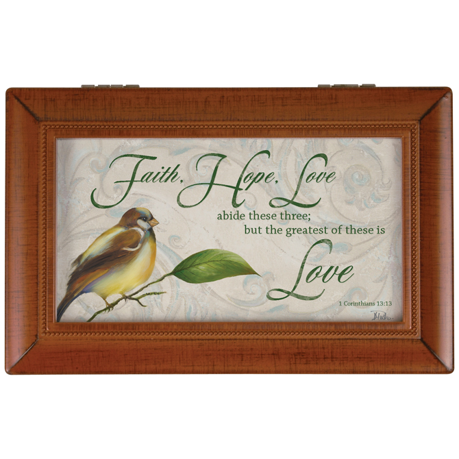 """Faith, Hope, Love"" Music Box music box, gift box, jewelry box, keepsake box, inspirational music box, sacramental gift, special occasion gift, 17495"