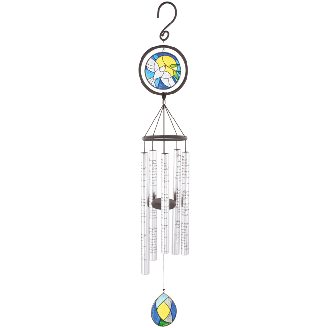 "Amazing Grace 35"" Stained Glass Wind Chime wind chime, outdoor d?cor, porch chime, new home gift, house warming gift, memorial gift, loved one, 60376"