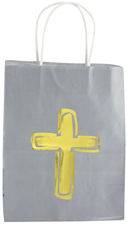 Gold Cross Gift Bag gift bag, religious gift bag, sacramental gift bag, christian gift bag, RSSTW-58