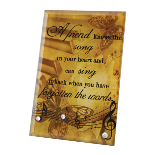 A Friend Glass Plaque CHGP-26,plaque, glass, home plaque, table top, friend gift