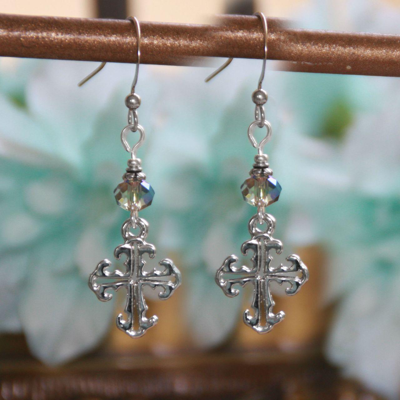 Lace Style Cross Earrings earrings, jewelry, drop earrings, lace earrings, mothers day gift, cross earrings, cross, in-63