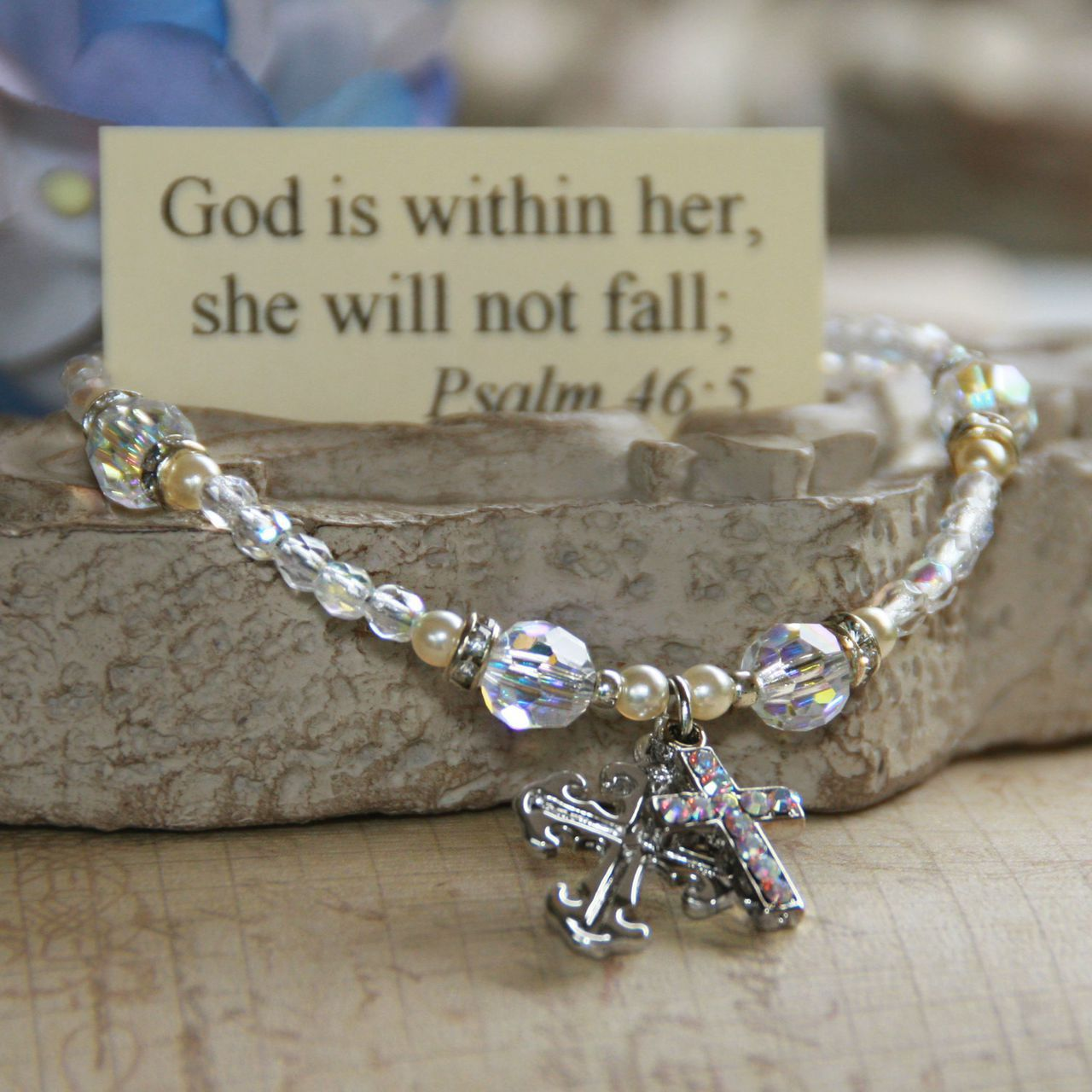 God is within her Cross Charm Bracelet bracelet, charm bracelet, message bracelet, bead bracelet, cross, in-373