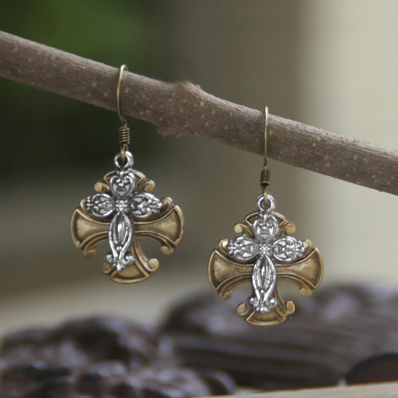 Double Cross Earrings earrings, jewelry, drop earrings, double cross earrings, mothers day gift, cross earrings, cross, in-54