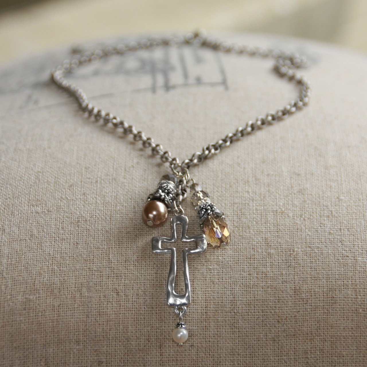 Cross Dangle Necklace necklace, jewelry, cross necklace, religious necklace, crystal necklace,In-519