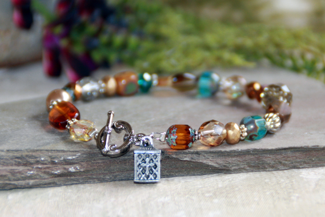 Colorful Prayer Box Bracelet prayer box, bracelet, jewelry, message bracelet, prayer bracelet, in-340