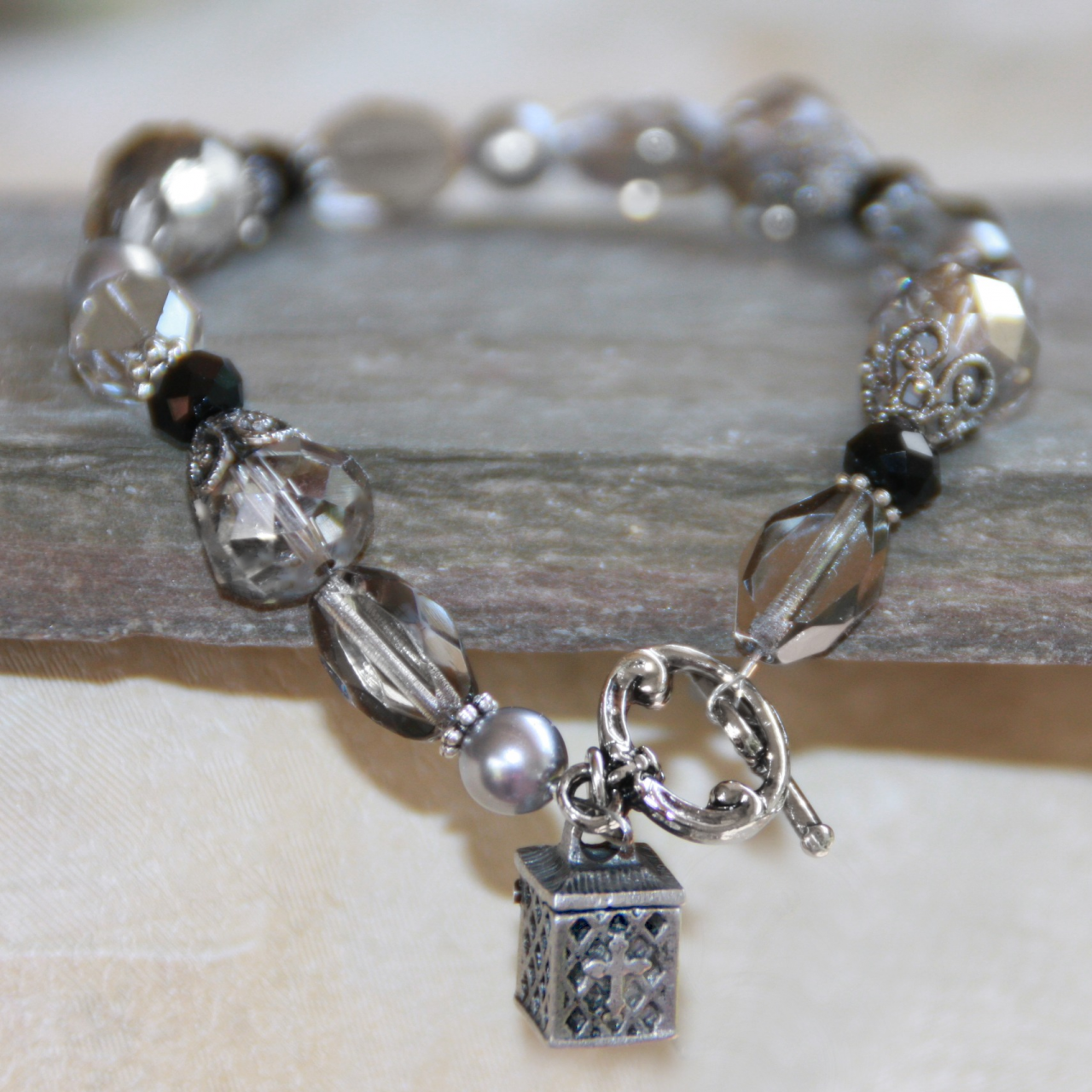 Pearl Prayer Box Bracelet prayer box, bracelet, jewelry, message bracelet, prayer bracelet, in-354