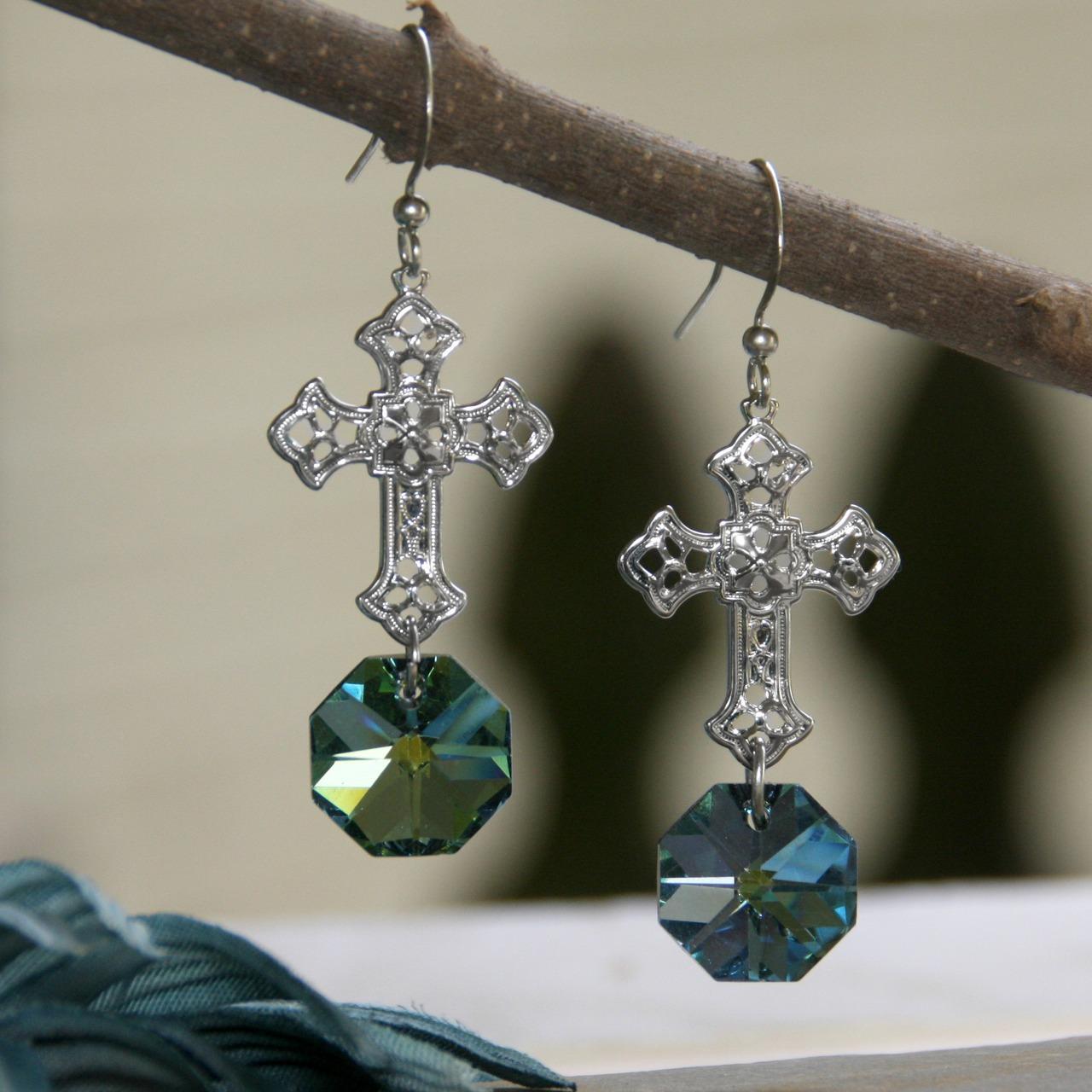 Chandelier Crystal Cross Earrings earrings, chandelier, cross, crystal, jewelry, cross earrings,