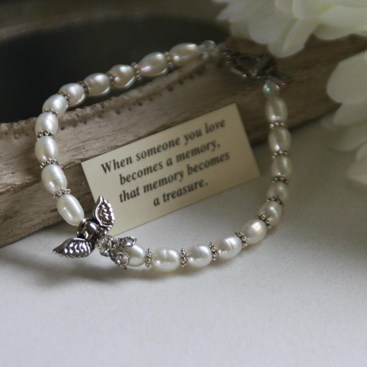 Freshwater Pearl Memorial Bracelet bracelet, bead bracelet, memorial bracelet, rememberance bracelet,pearl bracelet, jewelry, iin-227