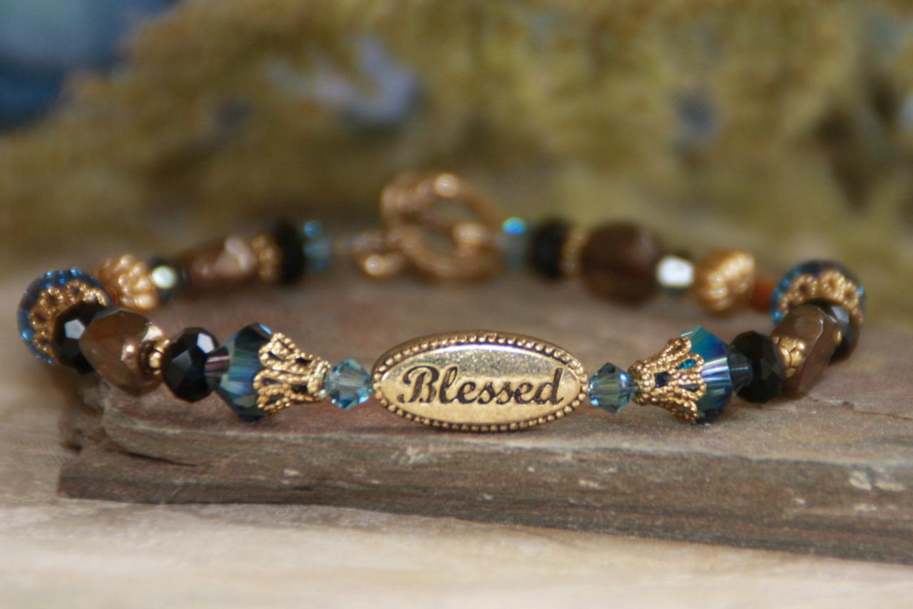 Blessed Blue Beaded Bracelet blessed bracelet, jewelry, bead bracelet, message bracelet, blue bracelet, in237