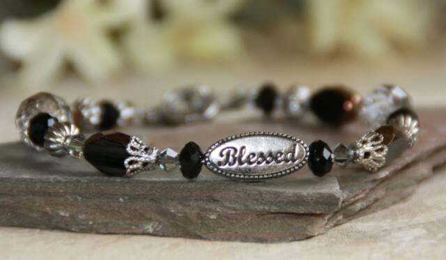 Blessed Black Beaded Bracelet blessed bracelet, jewelry, bead bracelet, message bracelet, black bracelet, in-337
