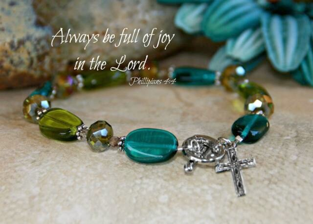 Always Be Full of Joy Bracelet bracelet, charm bracelet, message bracelet, bead bracelet, cross, in-359