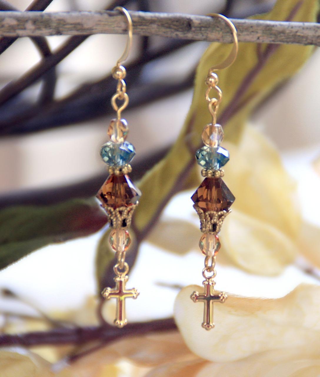 Crystal and Cross Drop Earrings earrings, jewelry, drop earrings, double cross earrings, mothers day gift, cross earrings, cross, crystal earrings, in-706