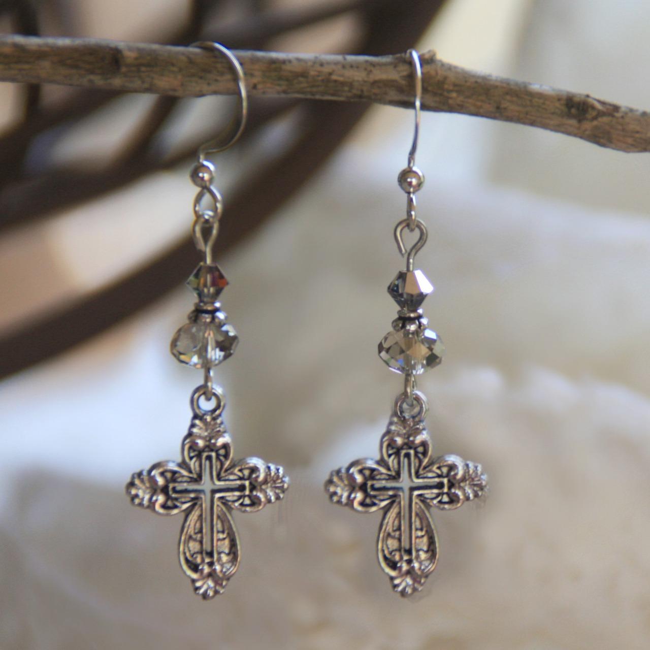 Swarovski Crystal Cross Earrings earrings, jewelry, drop earrings, crystal cross earrings, mothers day gift, cross earrings, cross, crystal earrings, in-708
