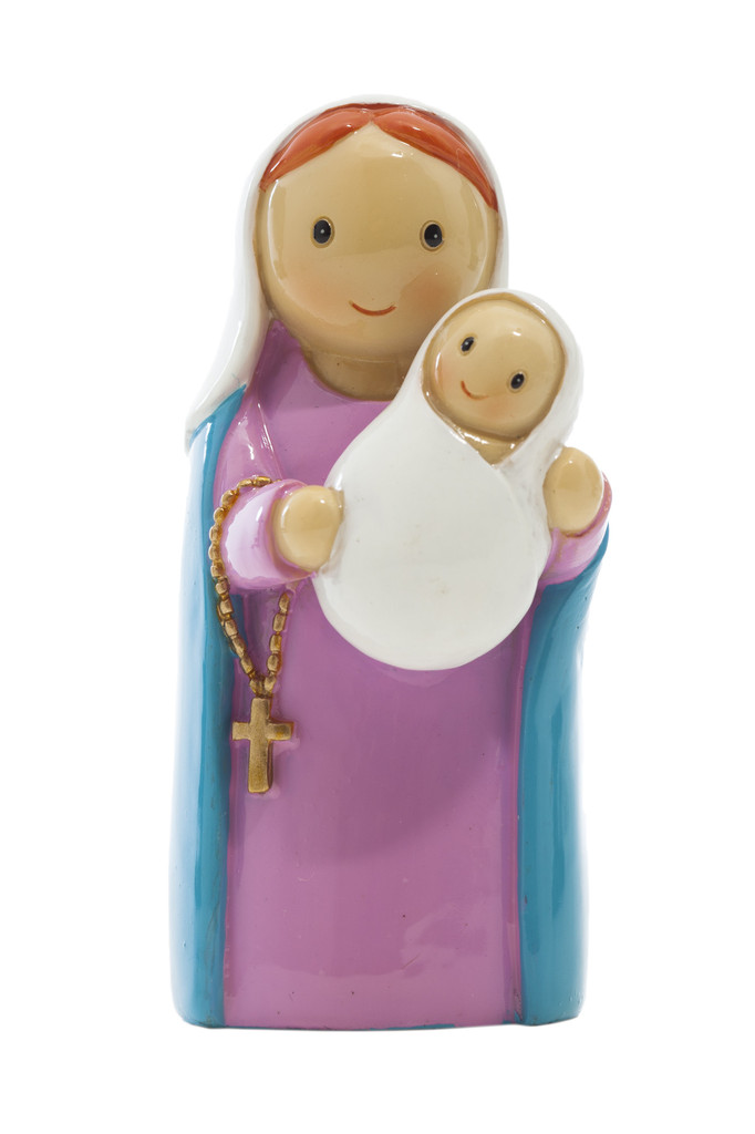 Mary and Baby Jesus Statue (Lady of the Rosary) statue, resin, portugal, saint statue, gift, sacramental gift, stocking stuffer,mary statue, jesus statue, mother and child