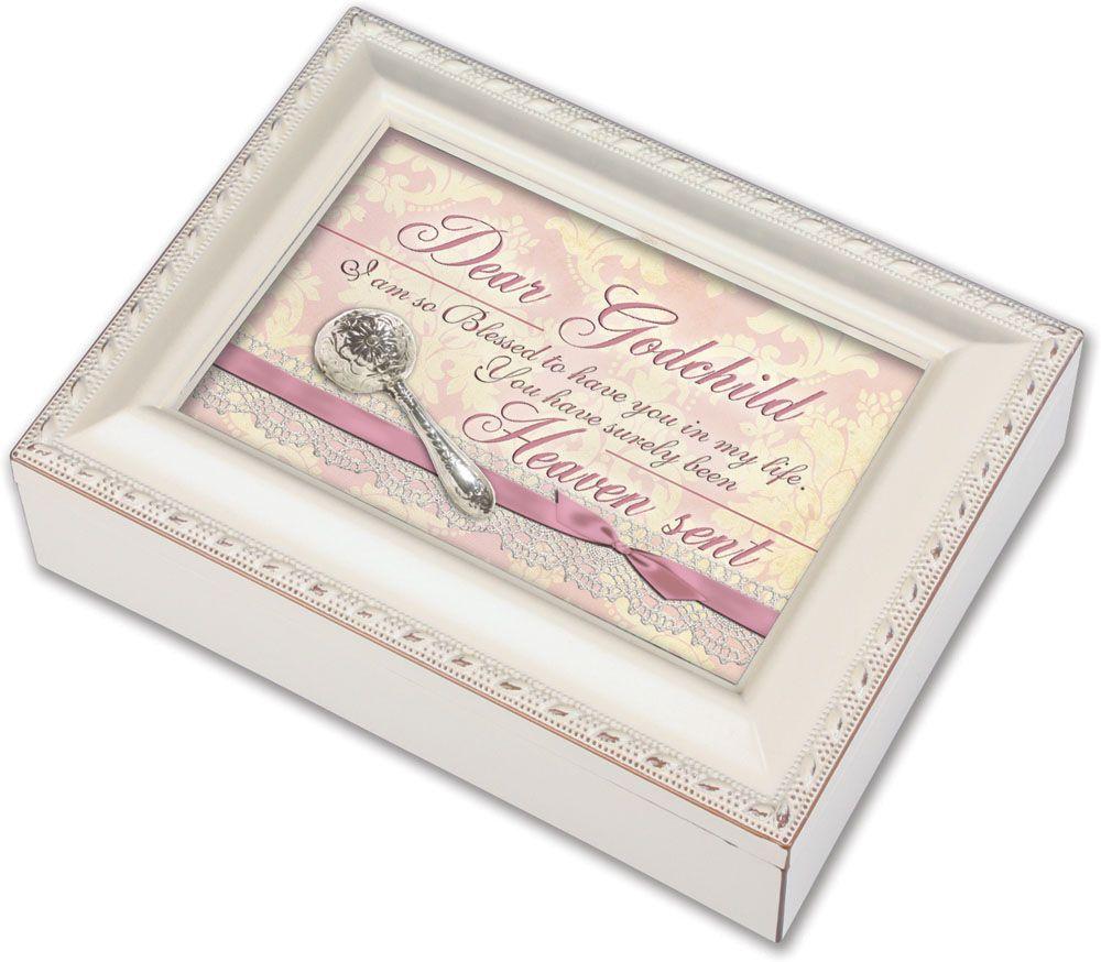 Dear Godchild Music Box baby gift, baby musical, baptism gift, christening gift, music box, petite box, pink, girl, baby gir, MB1820SI