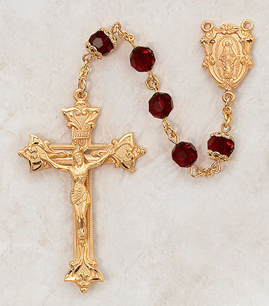 7MM Ruby Rosary- 24KT Gold over Sterling Silver rosary, ruby, red, gold, silver, premium, high end rosary, VP7FCRU20