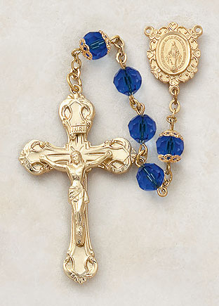 7MM Sapphire Rosary-24KT Gold Over Sterling Silver rosary, sapphire, blue, gold, silver, premium, high end rosary, VP7FCRU20