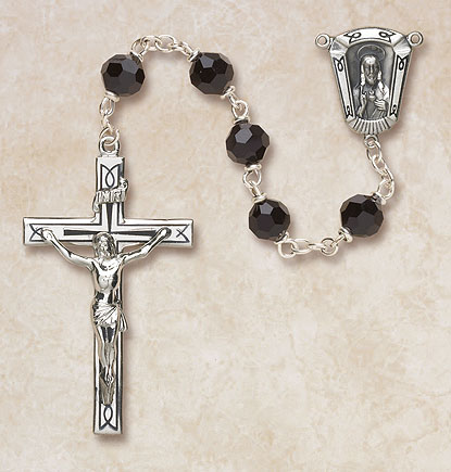 7MM Jet Crystal Rosary-Sterling Silver rosary, crystal, jet,black,  silver, premium, high end rosary, SP27BL37E