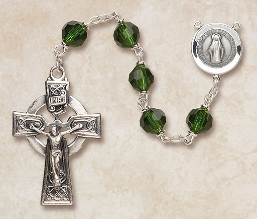 7MM Emerald Crystal Rosary-Sterling Silver rosary, crystal, emerald,green, irish,  silver, premium, high end rosary, SP27EM7644