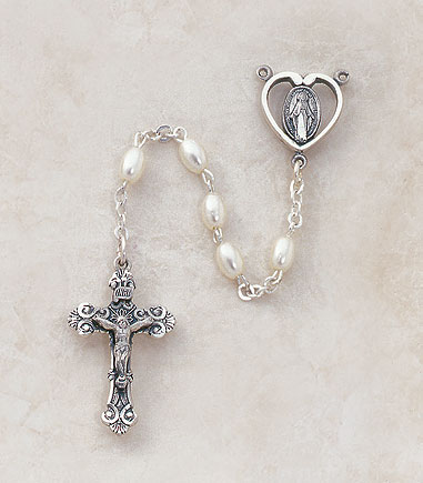 3MM Faux Pearl Rosary-Sterling Silver rosary, pearl, silver, premium, high end rosary, SP83