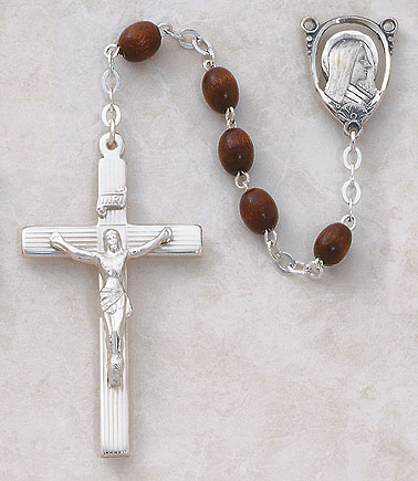 5MM Dark Brown Wood Rosary-Sterling Silver rosary, wood,brown,  silver, premium, high end rosary, SP89