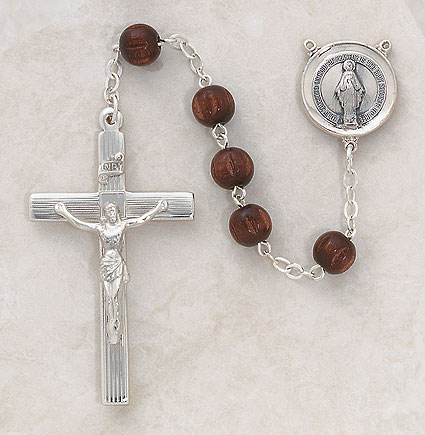 8MM Brown Wood Rosary-Sterling Silver rosary, wood,brown,  silver, premium, high end rosary, SP90br