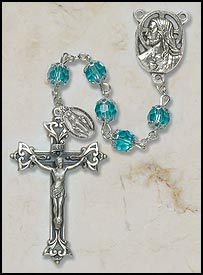 7MM Double Capped Aqua Crystal Rosary rosary, sapphire, blue, capped, silver, miaculous medal,mary rosary, SO27AQDC20D