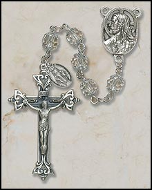 7MM Double Capped Crystal Rosary rosary, sapphire, crystal, capped, silver, miaculous medal,mary rosary, SO27CRDC20D