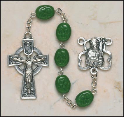 10MM St. Patrick Shamrock Bead Rosary rosary, crystal, emerald,green, irish, shamrock bead,  silver,SO67SR7644SPC