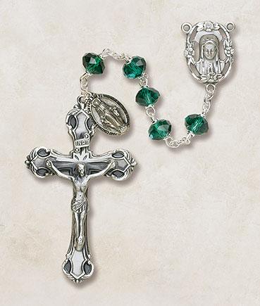 6mm Emerald Crystal Rosary rosary, crystal, emerald,green, irish,  silver, premium, SO68EM173D