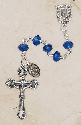 6MM Crystal Sapphire Rosary rosary, light blue, crystal bead, metal rosary, sapphire, SO68SP173D