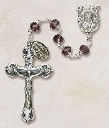 6MM Crystal Amethyst Rosary rosary, amethyst, crystal, silver,  SO68AM173D