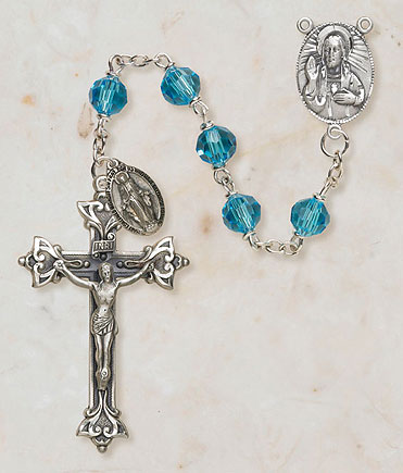 7MM Crystal Aqua Rosary rosary, light blue, crystal bead, metal rosary, SO27AQ20D