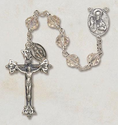 7MM Crystal Aurora Borealis Rosary rosary,clear, aurora borealis,  crystal, silver rosary, SO27AB20D