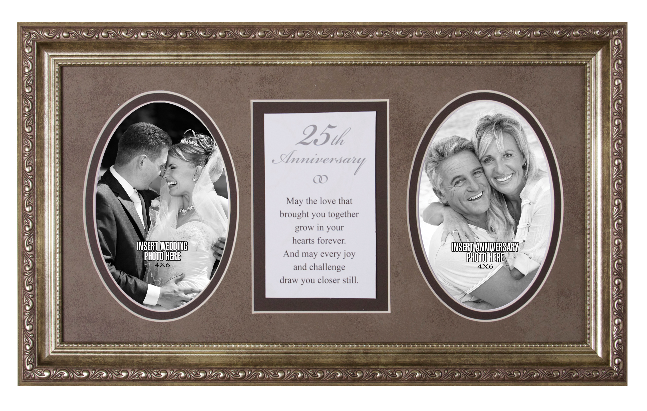 25th Anniversary Photo Frame with Verse framed picture, inspirational message, home decor, wall decor, framed art, words of grace, 2593