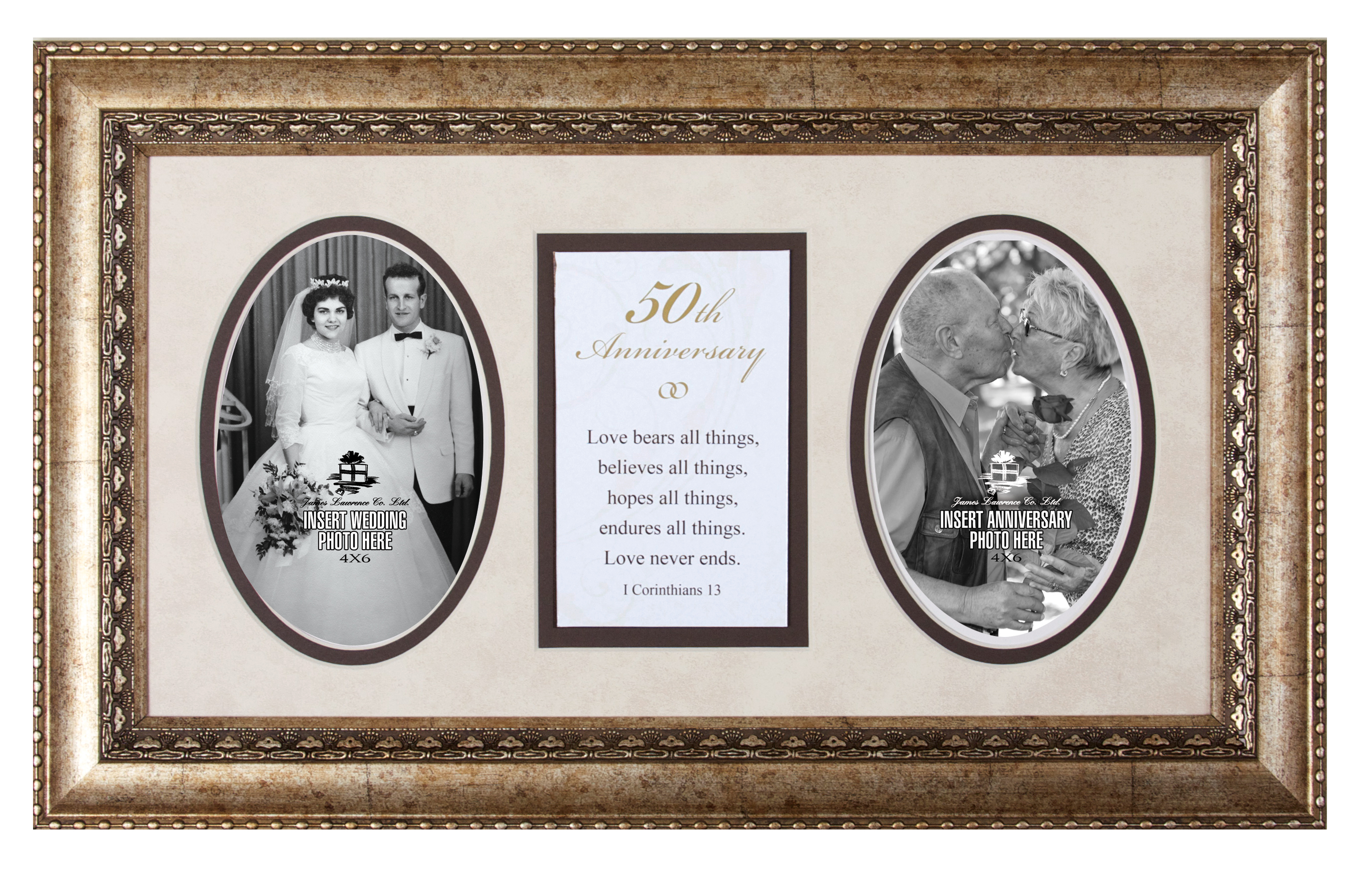 50th Anniversary Photo Frame with Verse framed picture, inspirational message, home decor, wall decor, framed art, words of grace, 2594