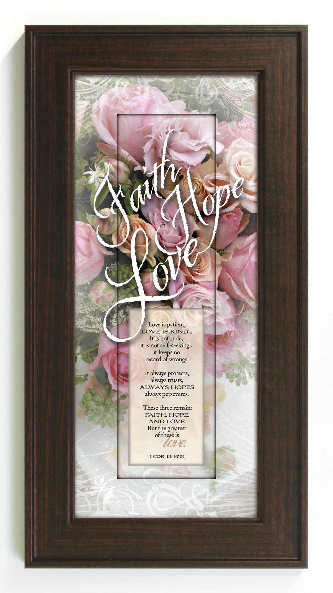 Faith, Hope, Love Framed Print framed picture, inspirational message, home decor, wall decor, framed art, words of grace, 3060