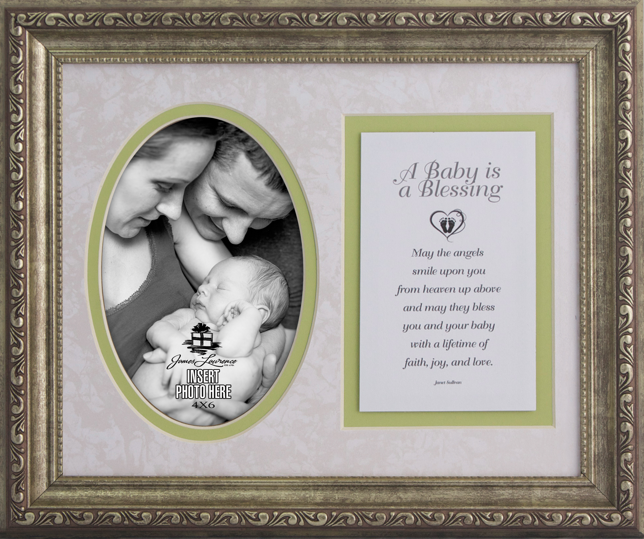 A Baby is a Blesssing Photo Frame and Verse framed picture, inspirational message, home decor, wall decor, framed art, words of grace, 7041