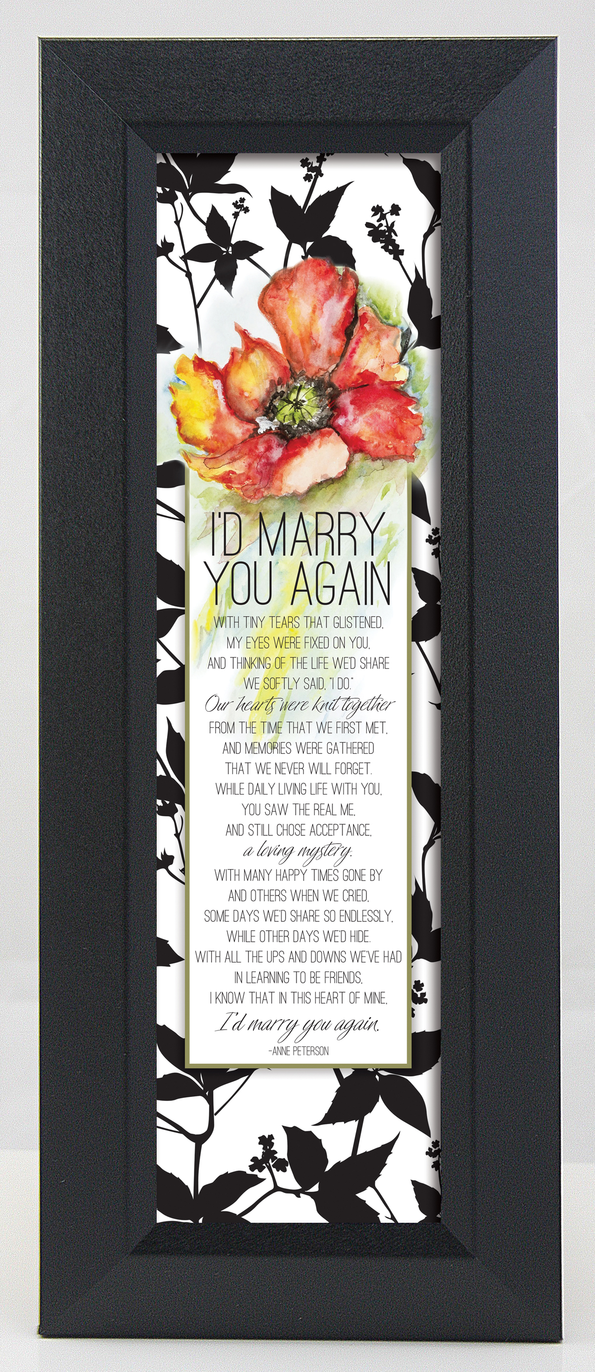 I%27d Marry You Again Floral Wall Plaque framed picture, inspirational message, home decor, wall decor, framed art, words of grace, 9013