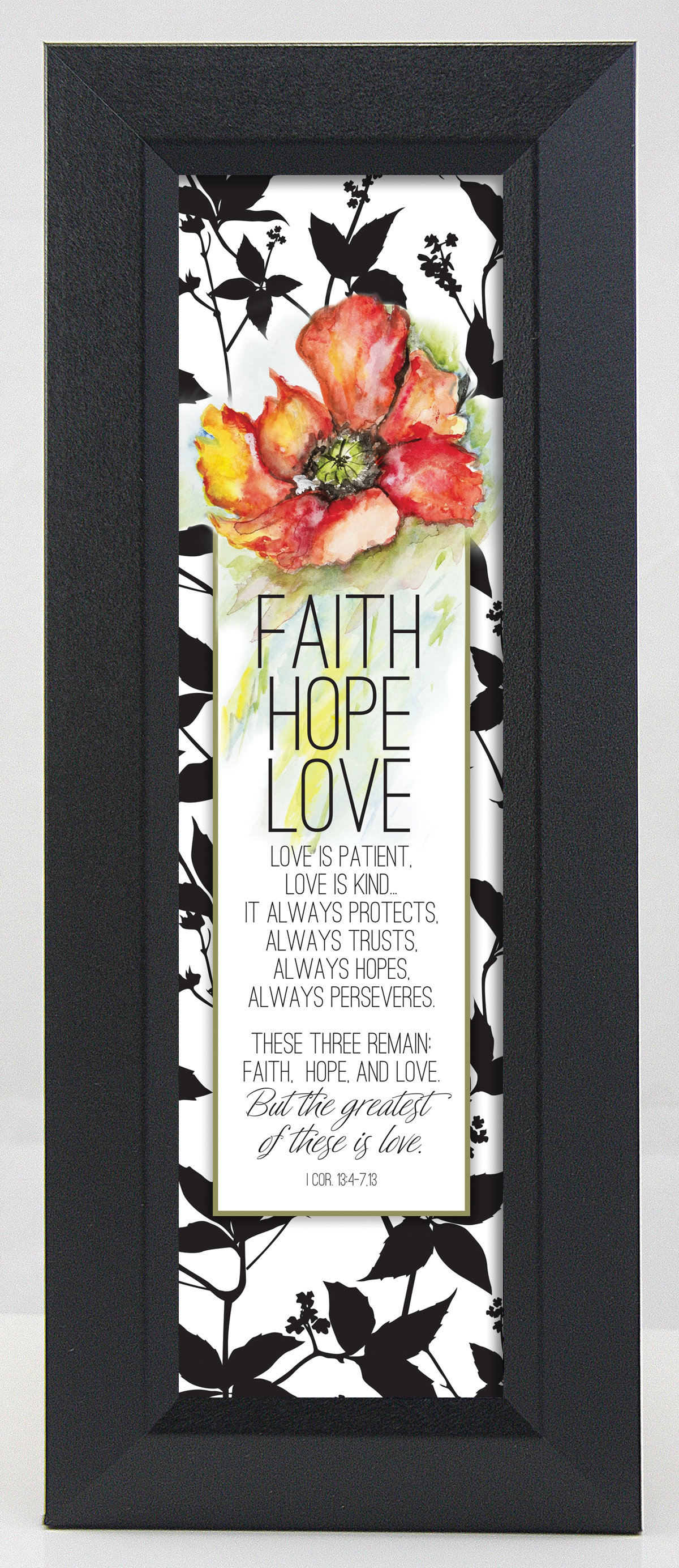 Faith, Hope, Love Floral Wall Plaque framed picture, inspirational message, home decor, wall decor, framed art, words of grace, 9016