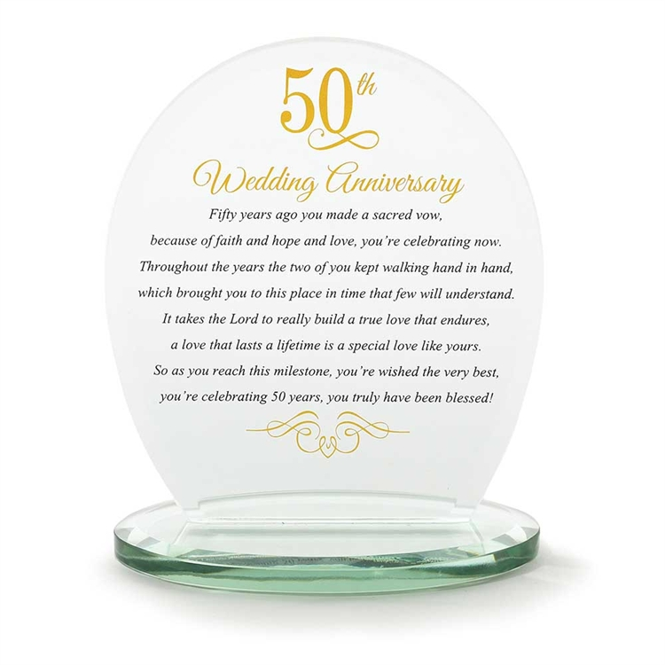 50th Anniversary Glass Plaque anniversary gift, anniversary plaque, 50th anniversary, golden anniversary, wedding gift,